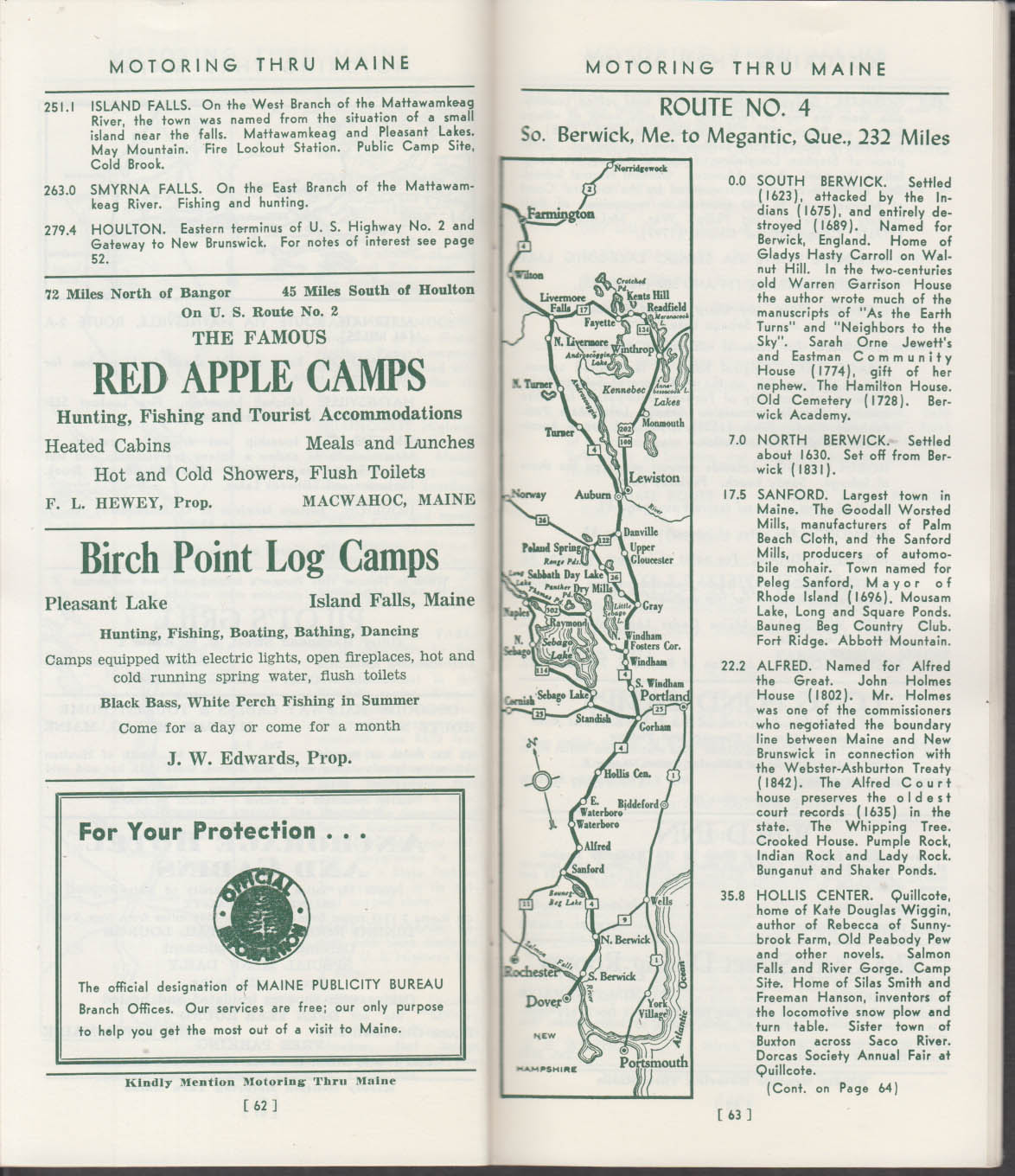 Motoring Thru Maine Guide 1949 strip maps local advertising inns hotels camps