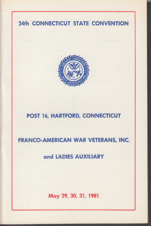 Connecticut Franco-American War Veterans Convention Program Plainville CT 1981
