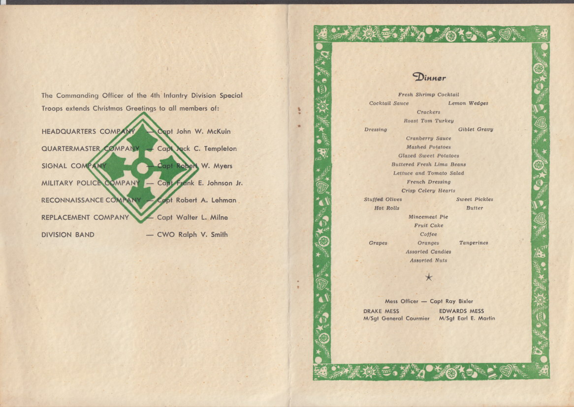 US Army 4th Infantry Special Troops Christmas Dinner Menu Frankfurt Germany 1954