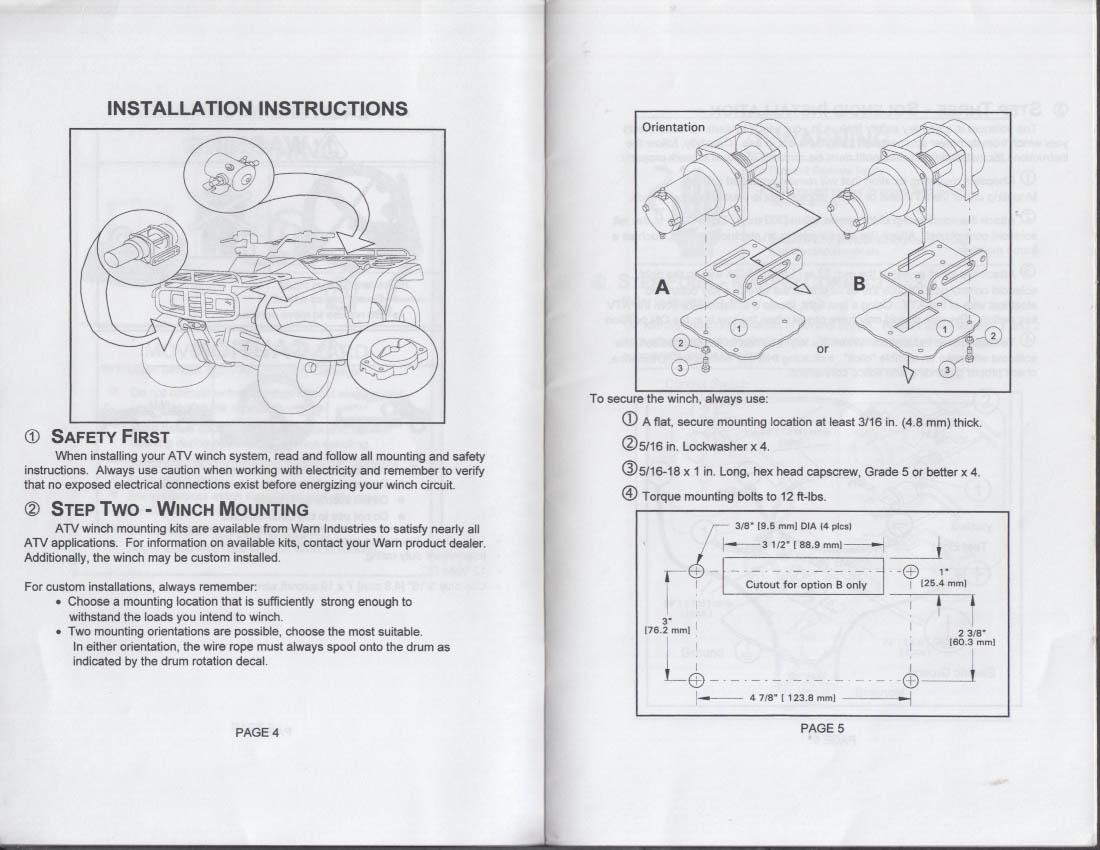 Warn Winch A2000 Schematic Diagram Schematics 8000 Wiring Industries Installation Operator Manual Atv 1972