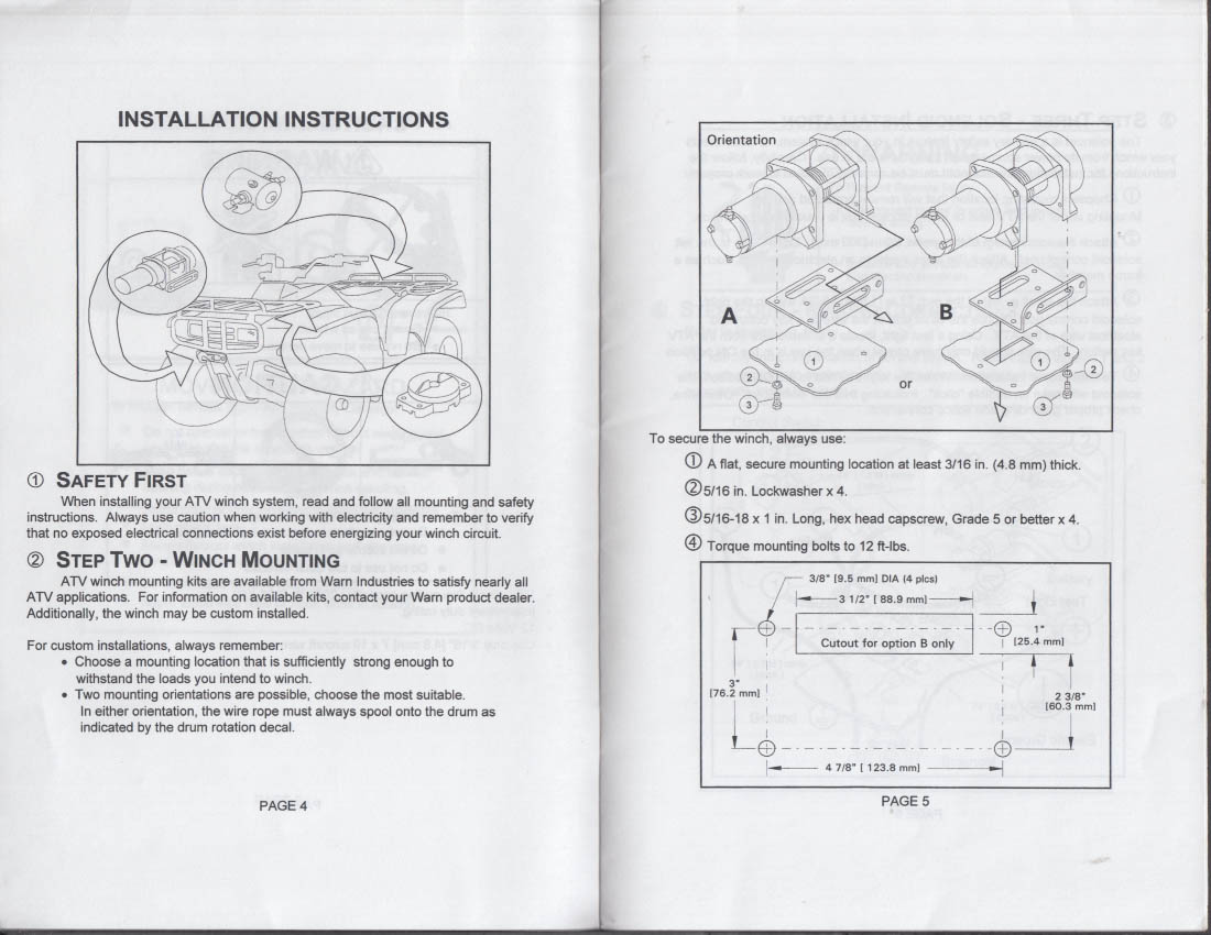 Warn Industries Installation & Operator Manual ATV Winch ... on