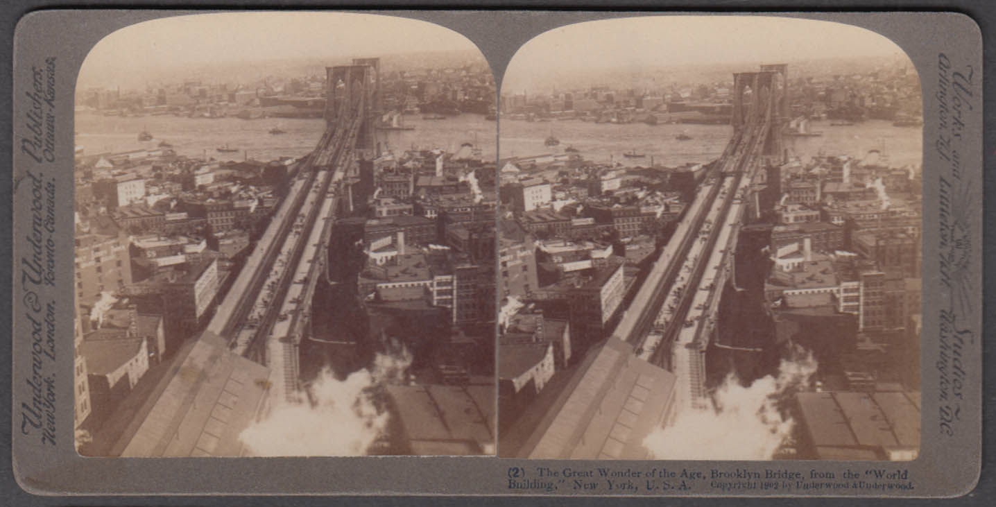 Brooklyn Bridge from World Building Underwood stereoview 1902