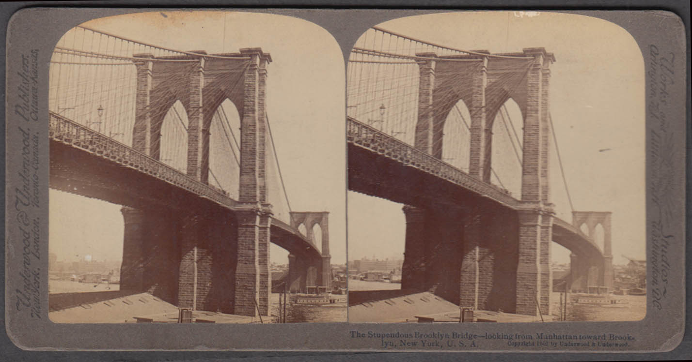 Brooklyn Bridge from Manhattan toward Brooklyn Underwood stereoview 1901