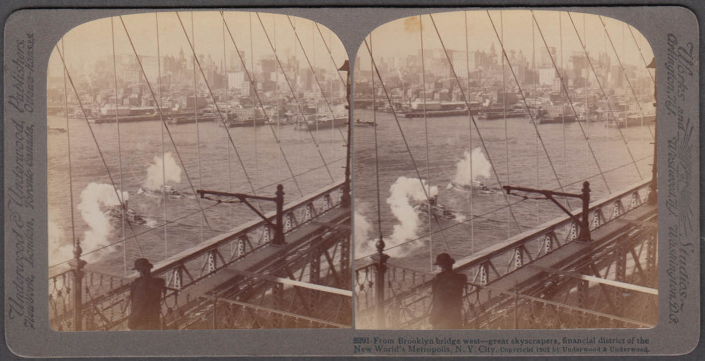 Brooklyn Bridge west view tugboats & slips Underwood stereoview 1902