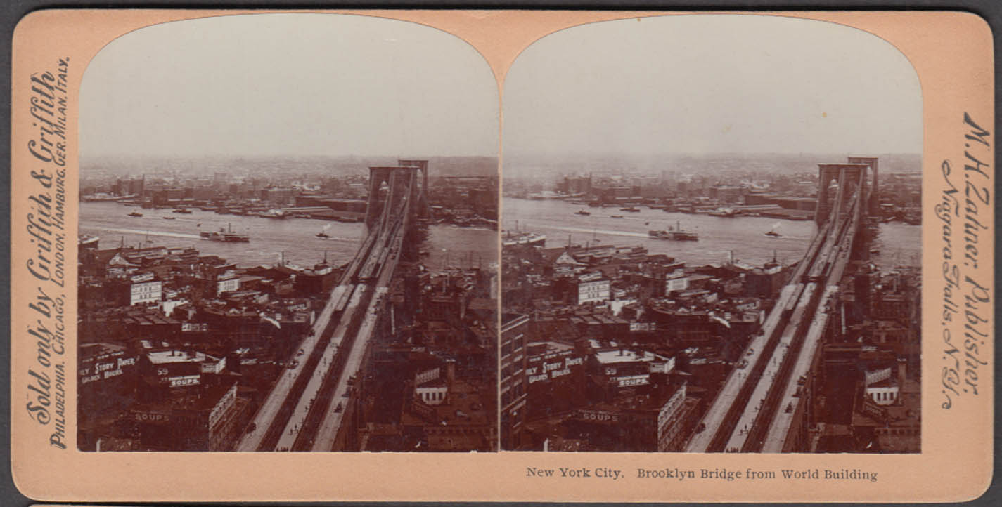 Brooklyn Bridge from World Bldg stereoview ca 1900 Horsman Bicycle sign