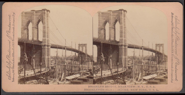 Brooklyn Bridge near view Underwood stereoview ca 1900 sailing vessels