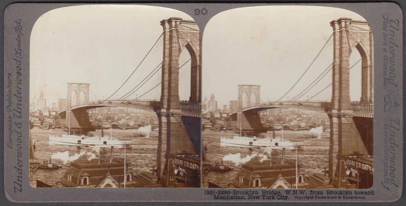 Brooklyn Bridge WNW toward Manhattan stereoview ca 1903 SS City of Brockton