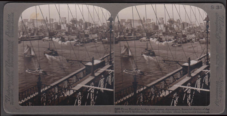 Brooklyn Bridge west view Underwood stereoview 1902 ferry trawler sailboat