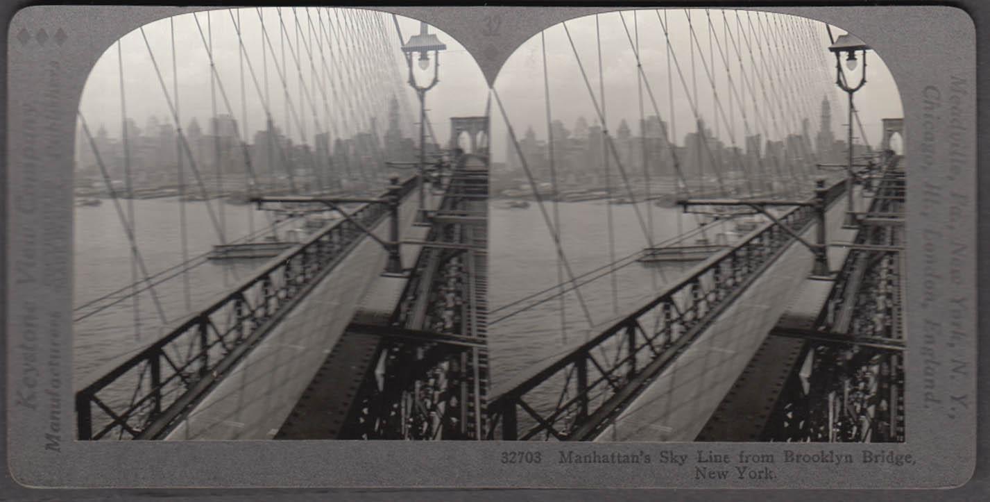 Manhattan Skyline from Brooklyn Bridge Keystone stereoview ca 1920