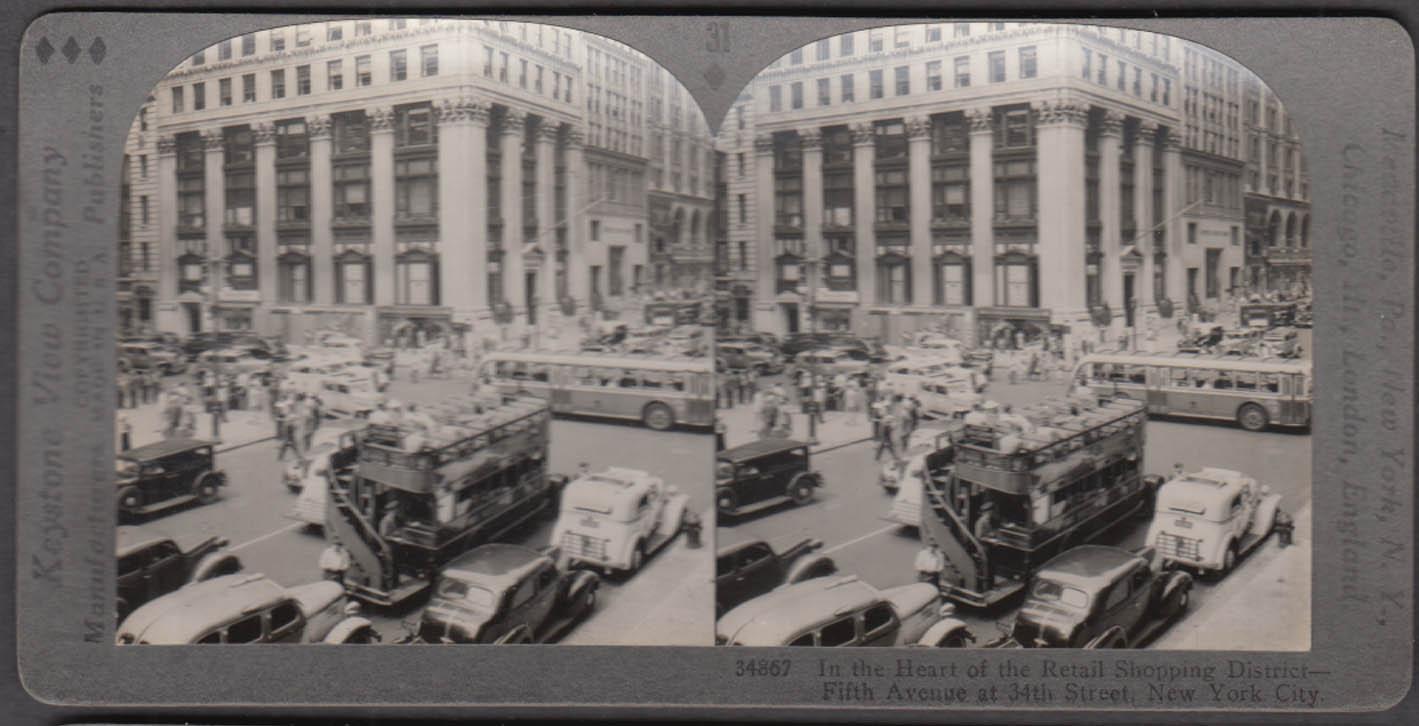 Fifth Avenue & 34th St Manhattan NYC Keystone stereoview 1930s Fanny Farmer