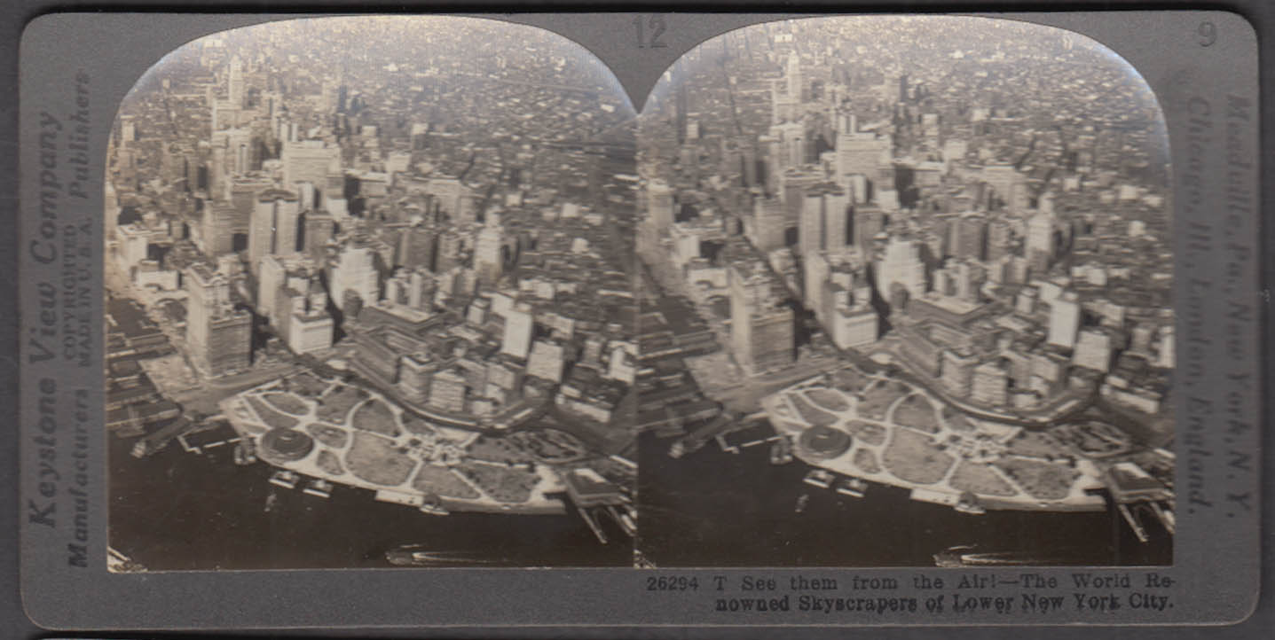 Air view lower Manhattan Keystone stereoview ca 1914 Woolworth Singer Bldg