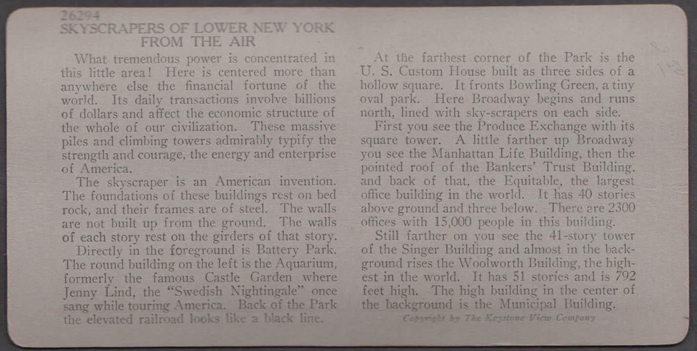 Air view lower Manhattan Keystone stereoview ca 1914 Woolworth Singer Bldg