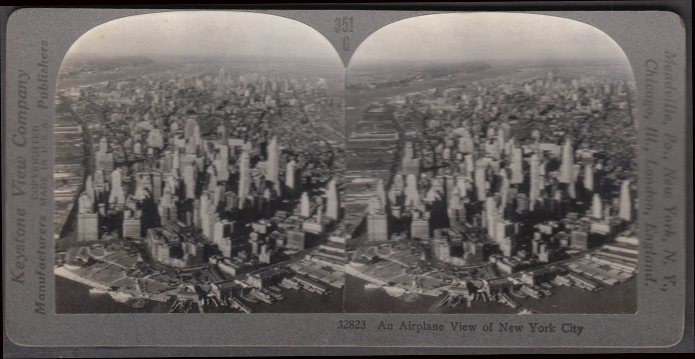 Air view lower Manhattan Keystone stereoview ca 1910 ferry slips aquarium