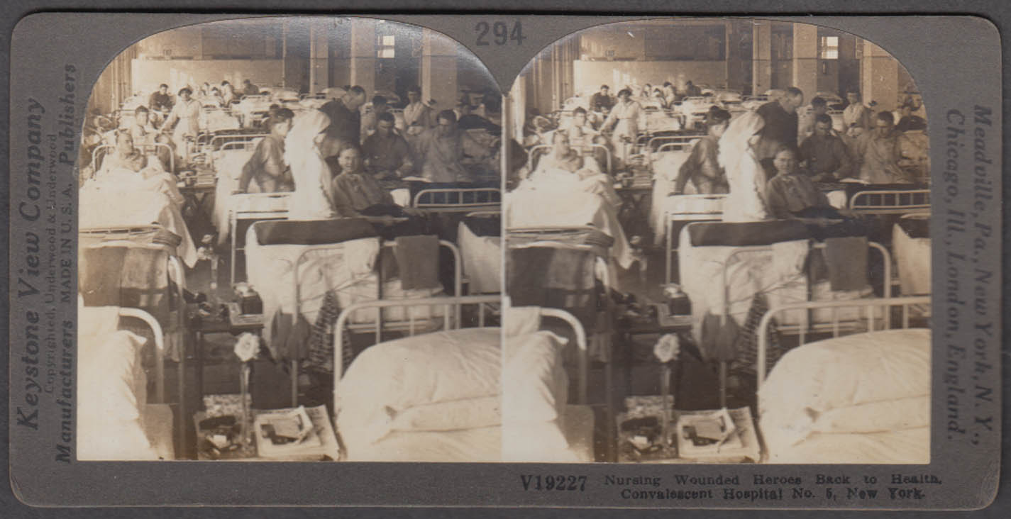 WWI Convalescent Hospital #5 NYC Keystone stereoview 1917