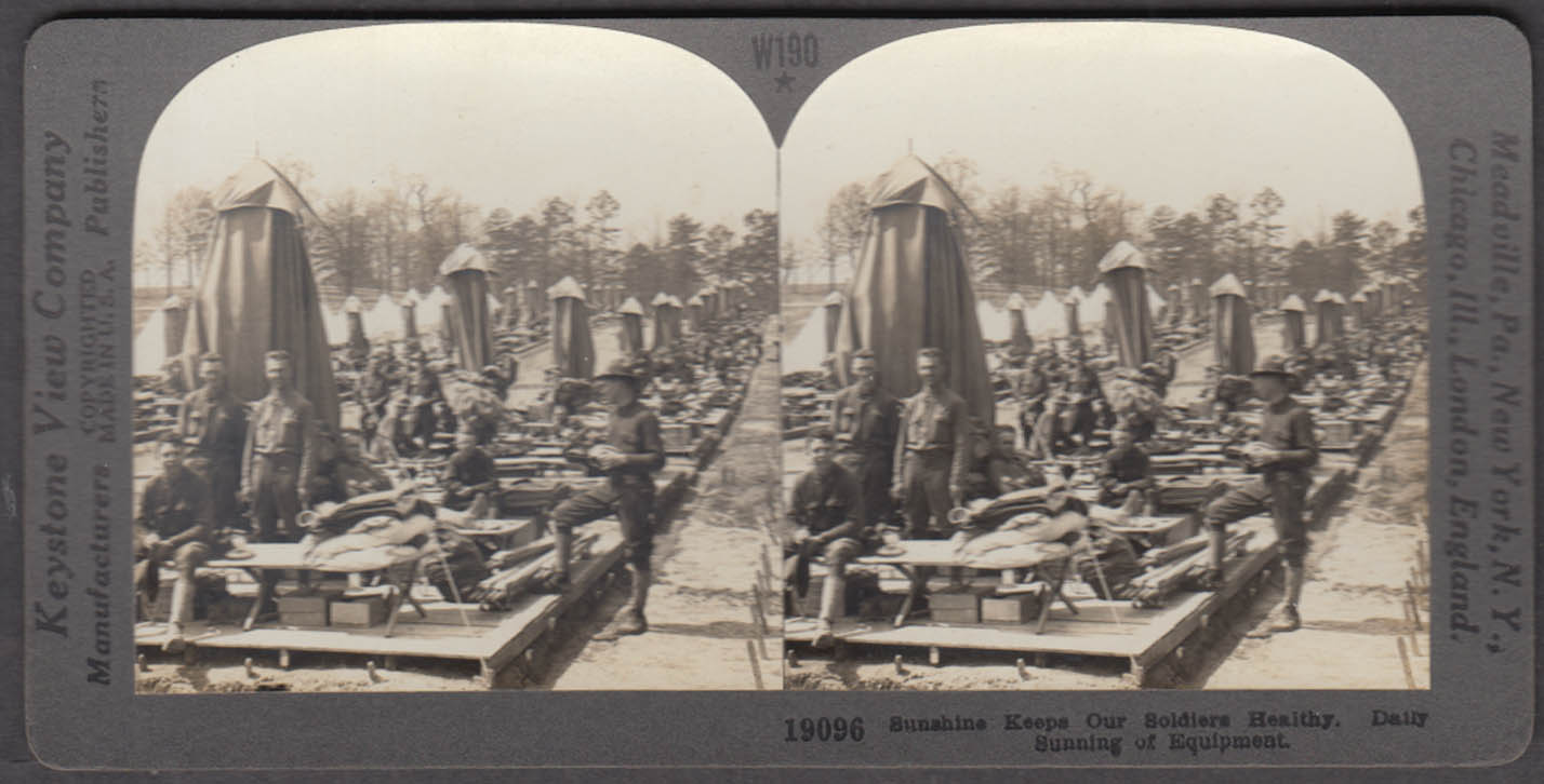 WWI stereoview US Soldiers sunning equipment at Camp Oglethorpe 1917