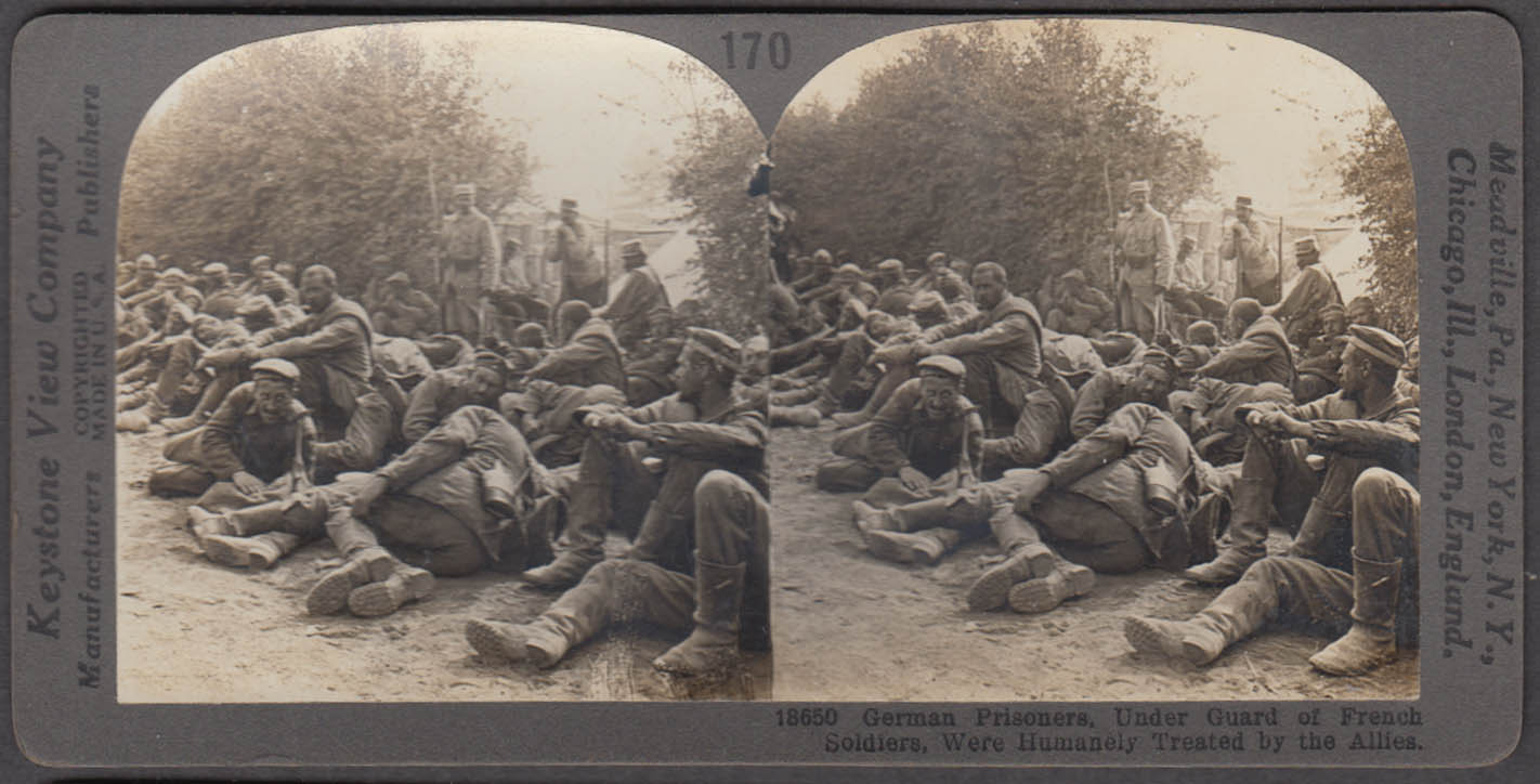 WWI stereoview German prisoners under French guard 1917