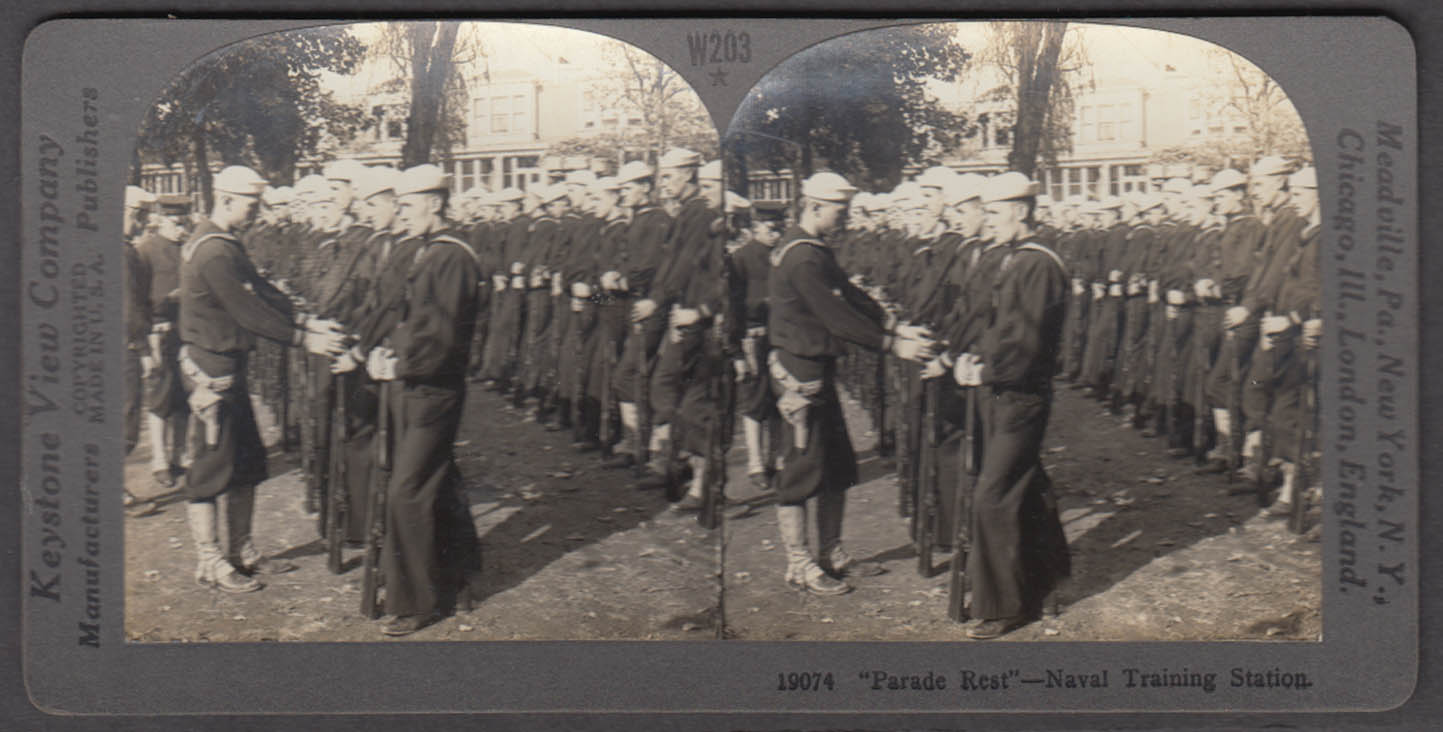 WWI stereoview Parade Rest Sailors in training MIT Naval Training Ctr 1918