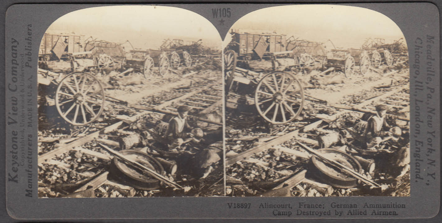WWI stereoview German Ammo Camp destroyed Alincourt Ardennes France 1914