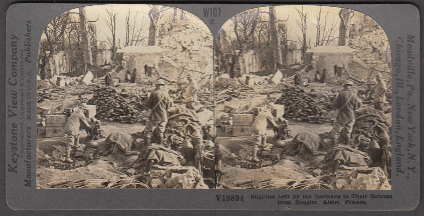 WWI stereoview German supplies left behind Soupier Alane France 1914