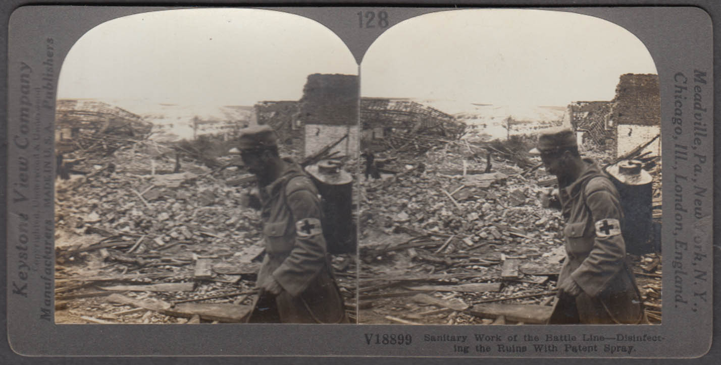 WWI stereoview Red Cross disinfecting war ruins with sanitary patent spray 1914