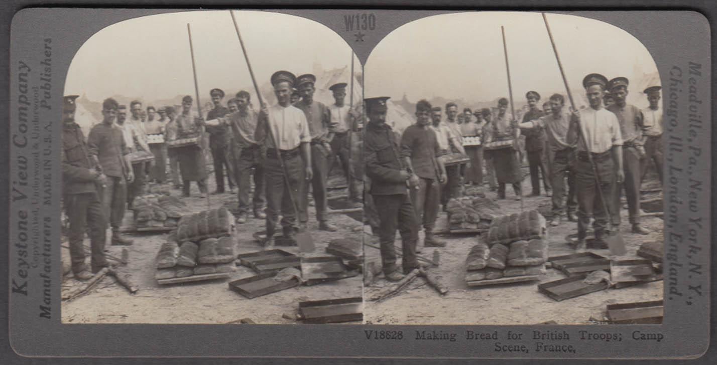 WWI stereoview Baking bread for Brit Tommies Aldershot ovens France 1915