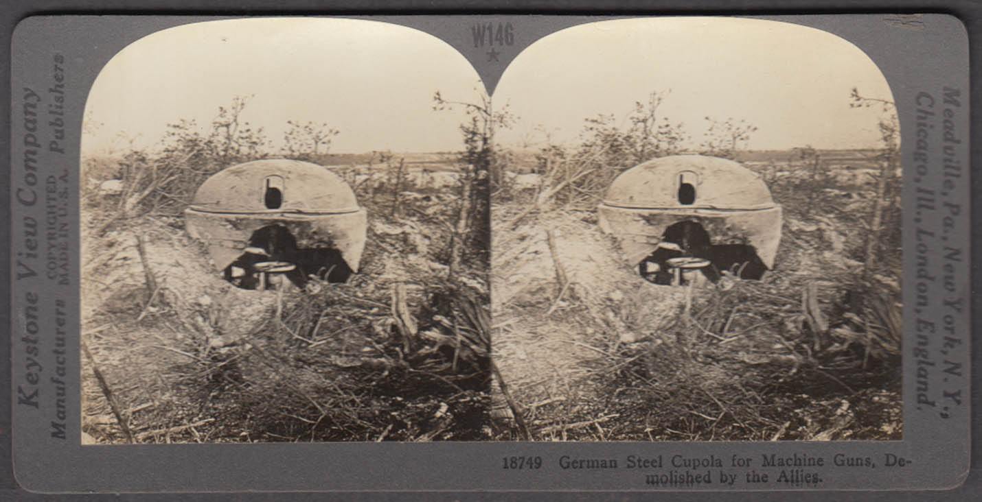WWI stereoview German Machine gun cupola destroyed by Allied guns France 1915