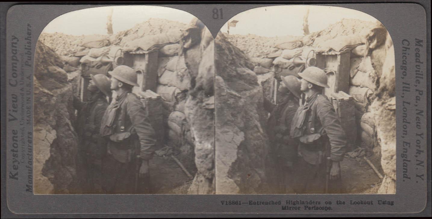 WWI stereoview British Highlanders using trench periscope ca 1915