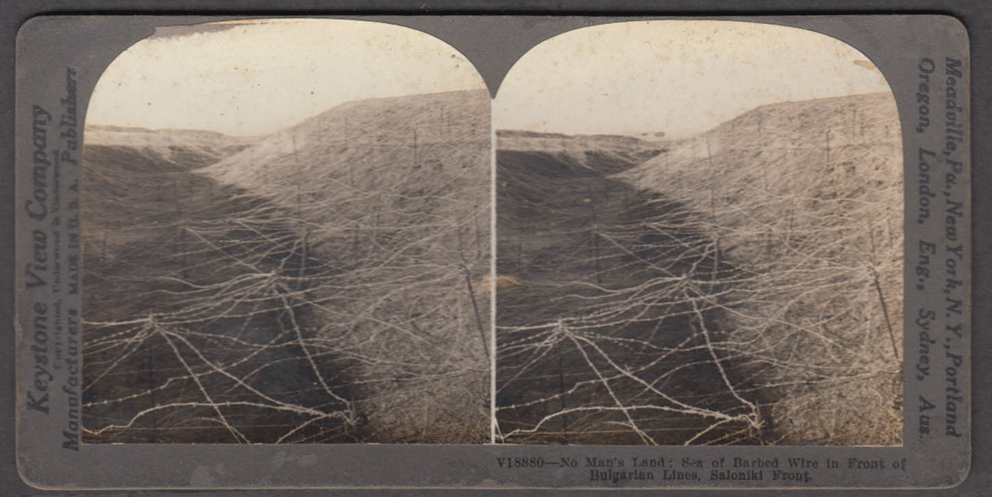 WWI stereoview No man's land barbed wire Saloniki Front Bulgarian lines 1916