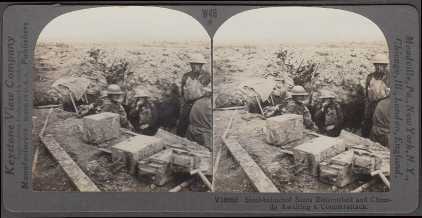 WWI stereoview Steel-helmeted Scots troops in trench await next battle ca 1915