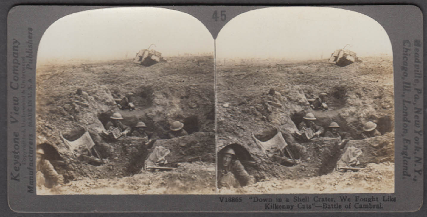 WWI stereoview BEF soldiers in trench Battle of Cambrai 1917 disabled tank
