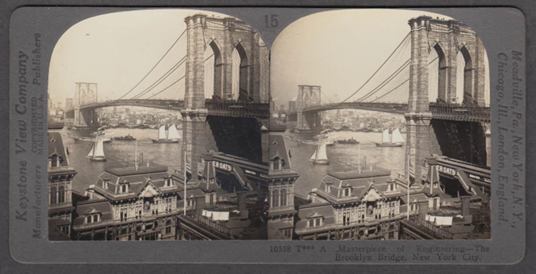 Brooklyn Bridge stereoview ca 1903 Quaker Oats Franklin House
