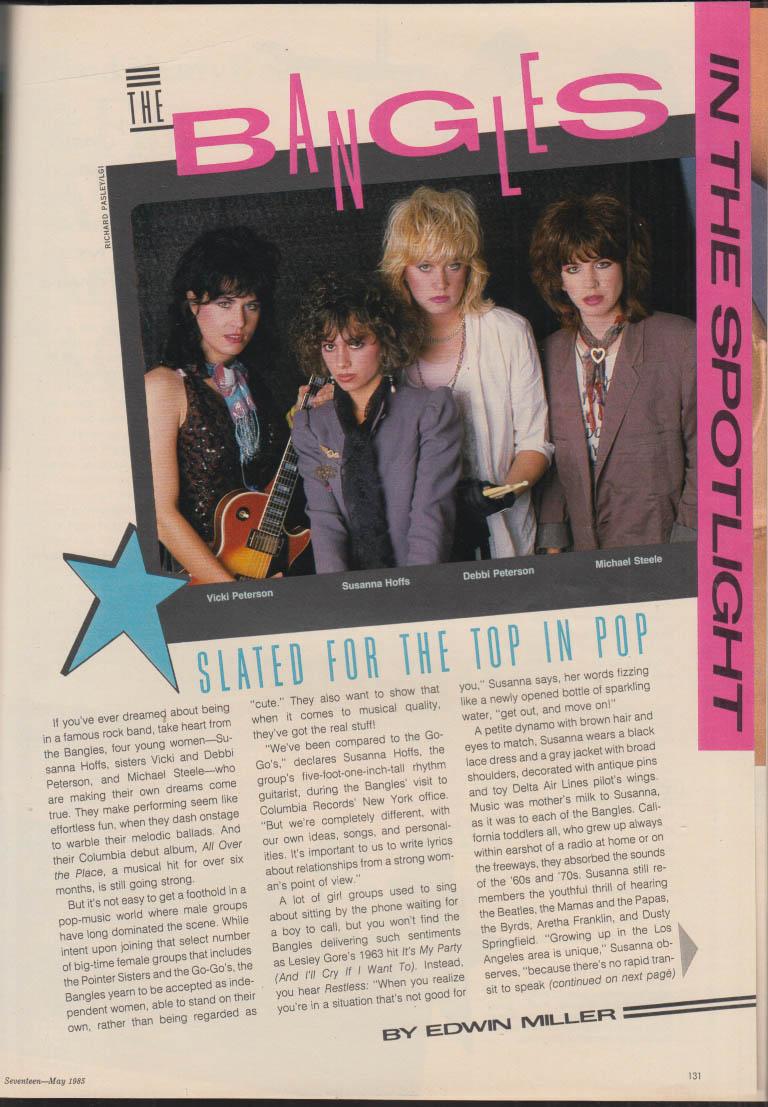SEVENTEEN The Bangles; Sade; Scott Coffey; future of teen movies 5 1985