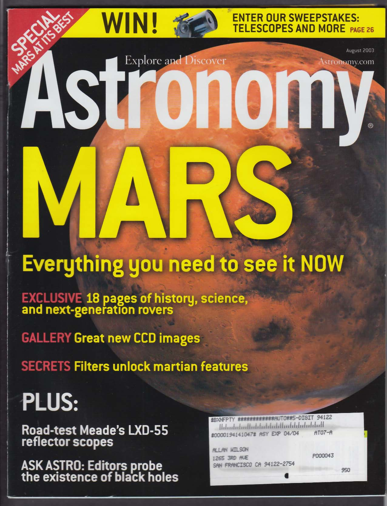 ASTRONOMY Meade LXD-55 Lupus Norma Mars Exploration Rovers 8 2003