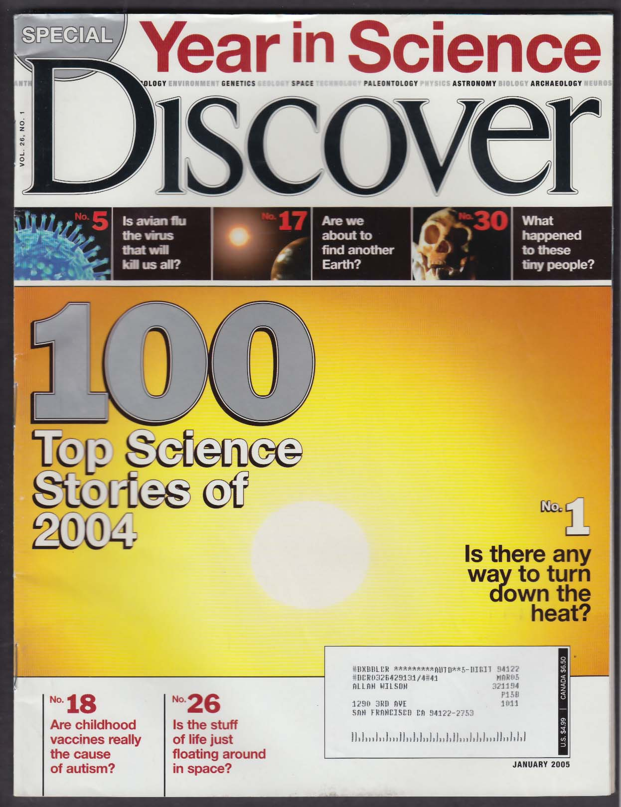 DISCOVER Year in Science; avian flu; vaccines; global warming 1 2005