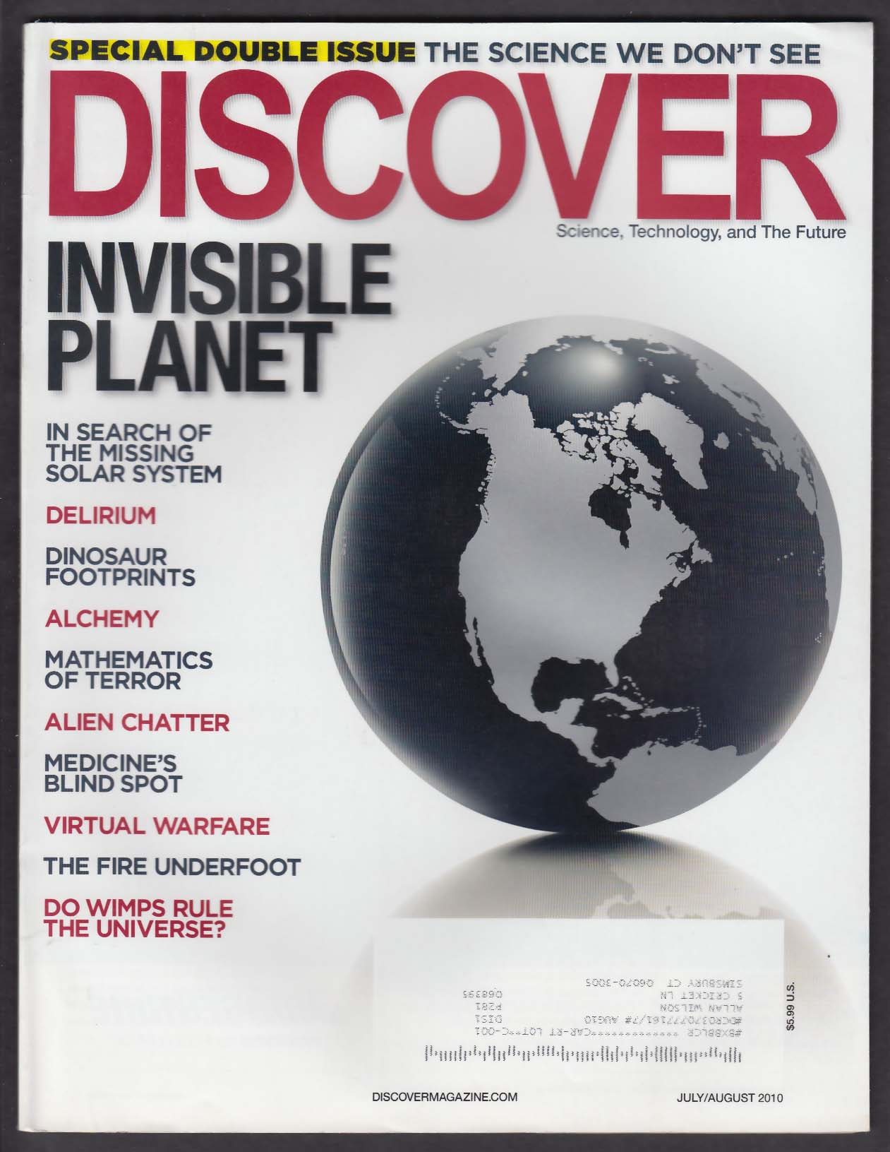 DISCOVER Dinosaurs; delirium; virtual war; missing Solar System 7-8 2010