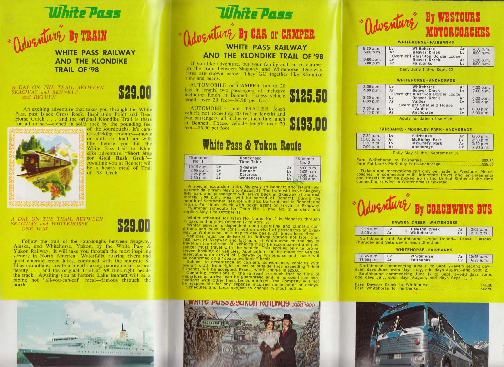 White Pass & Yukon Railroad Alaska & the Yukon schedule 1975