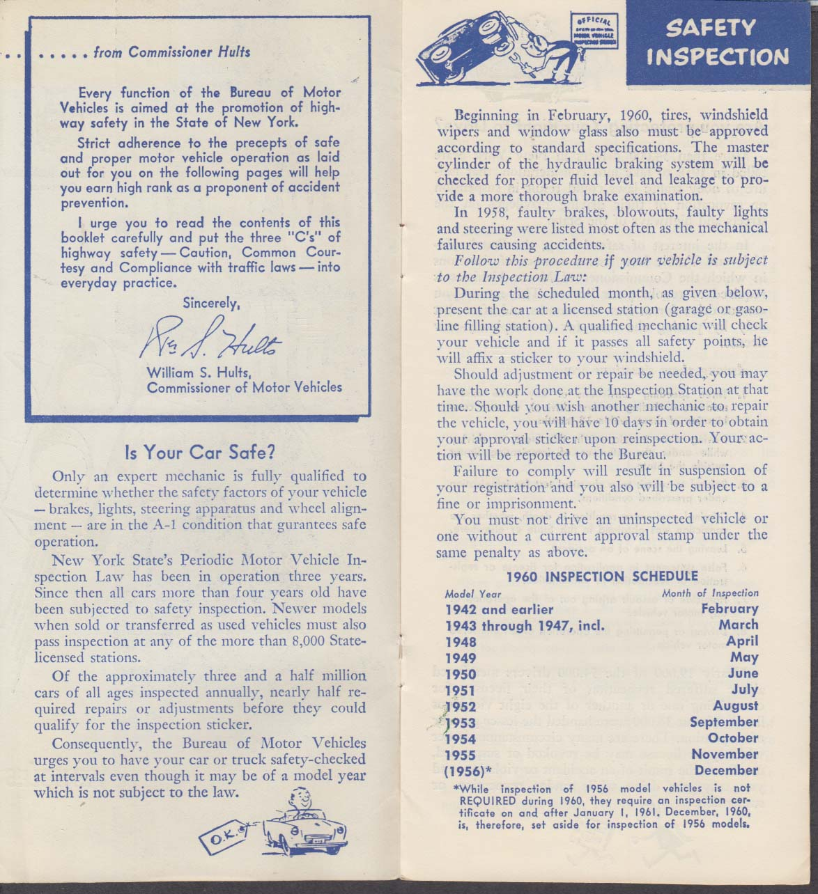 New York State Instructions for Automobile Owners & Drivers booklet 1960