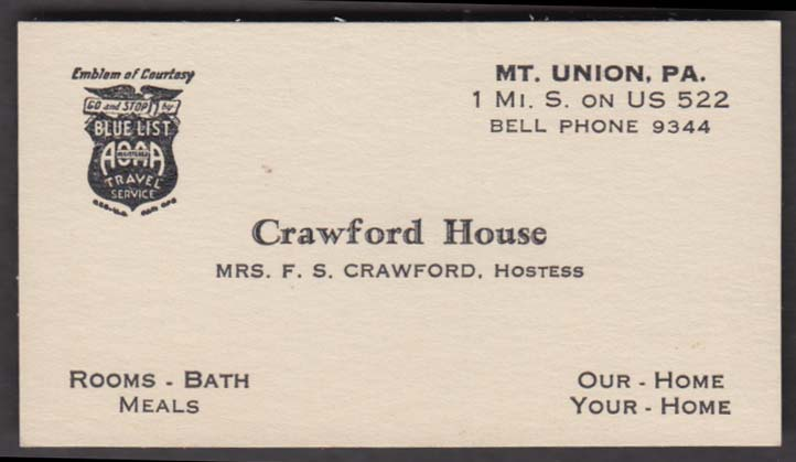 Crawford House Rooms Bath Meals Mt Union PA business card 1940s
