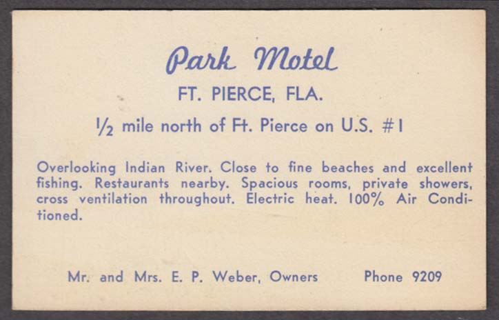 Park Motel Fort Perce FL business card 1/2-mile N on US #1 1940s