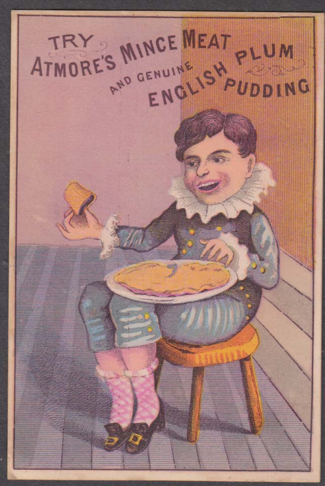 Atmore's Mince Meat & Genuine English Plum Pudding trade card 1880s boy eats