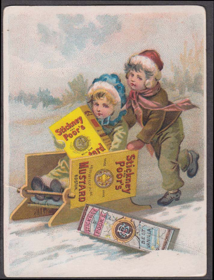 Image for Stickney & Poor's Mustard trade card 1880s boy pushes girl on a sled