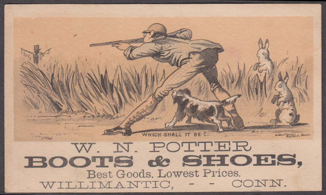 Image for W N Potter Boots Shoes Willimantic CT trade card hunter aims at scarecrow 1880s