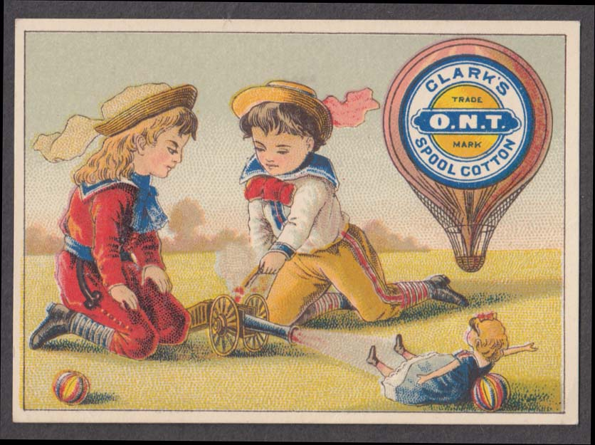 Clark's ONT Cotton Thread trade card 1880s boys shoot doll with toy cannon