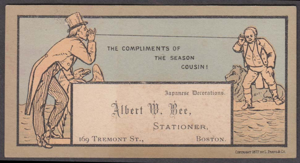 Arthur W Bee Stationer Boston trade card 1877 men with string telephone