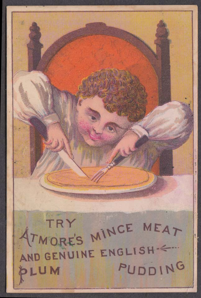 Atmore's Mince Meat & English Plum Pudding trade card 1880s boy cuts the pie