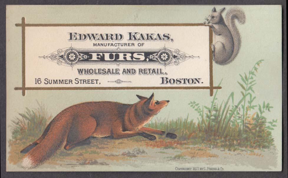 Image for Edward Kakas Fur Manufacturer Boston MA trade card fox stalks squirrel 1880s