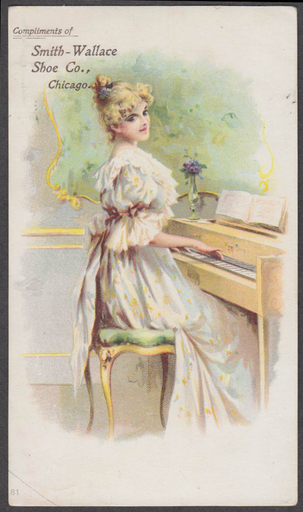 Image for Smith-Wallace Shoe Company Chicago trade card 1880s pretty blonde at the piano