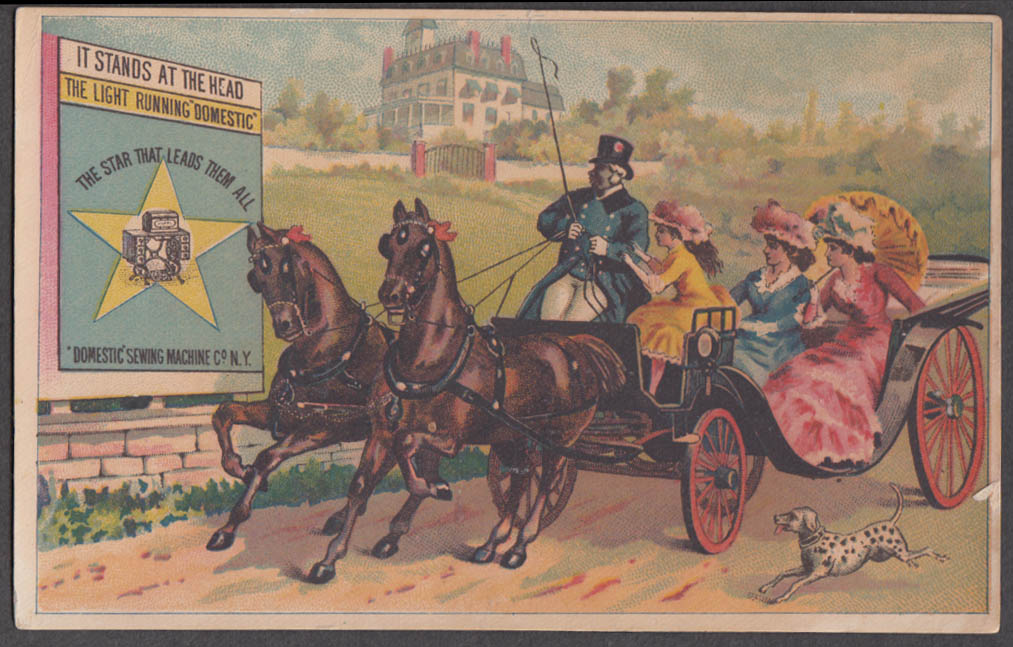 Image for Domestic Sewing Machine trade card 3 ladies in 2-horse carriage dalmatian 1880s