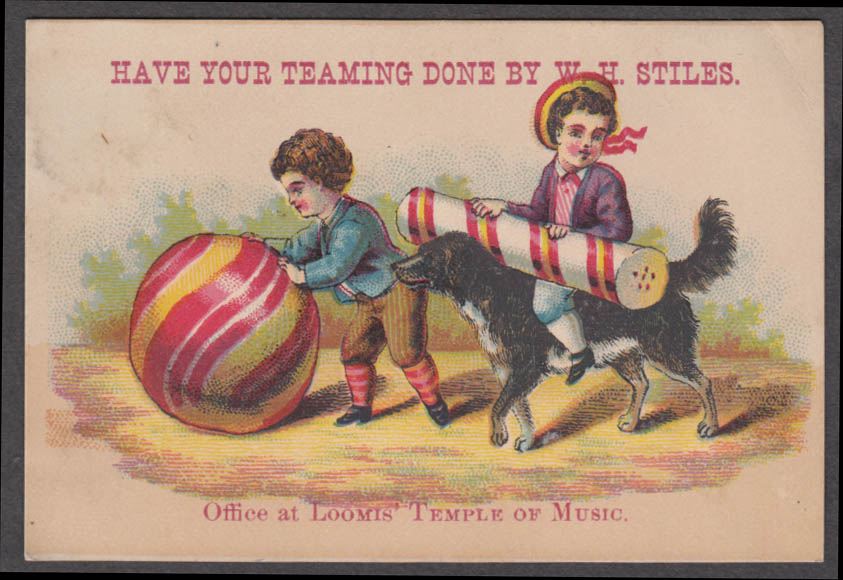 Image for W H Stiles Teaming trade card 2 boys huge candy ball & stick 1880s Loomis Temple