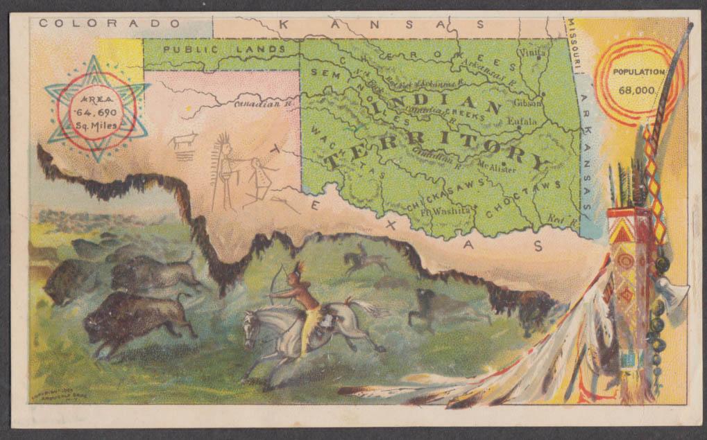 Arbuckle Bros Ariosa Coffee trade card Oklahoma Indian Territory 1889